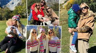 Chiara Ferragni in fuga sui monti con Leone e le sorelle