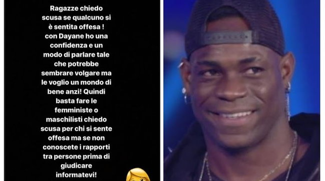 """""""Grande Fratello Vip 5"""": dopo lo scivolone con Dayane Mello, Balotelli si scusa sui social"""
