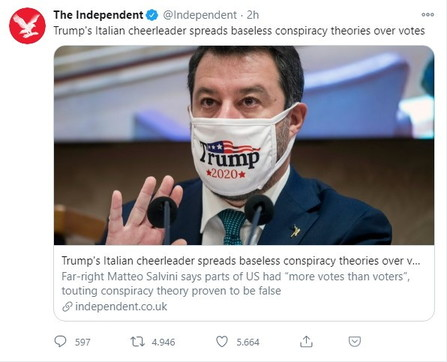 """Salvini cheerleader di Trump"": il tweet dell'Independent fa il giro del web"