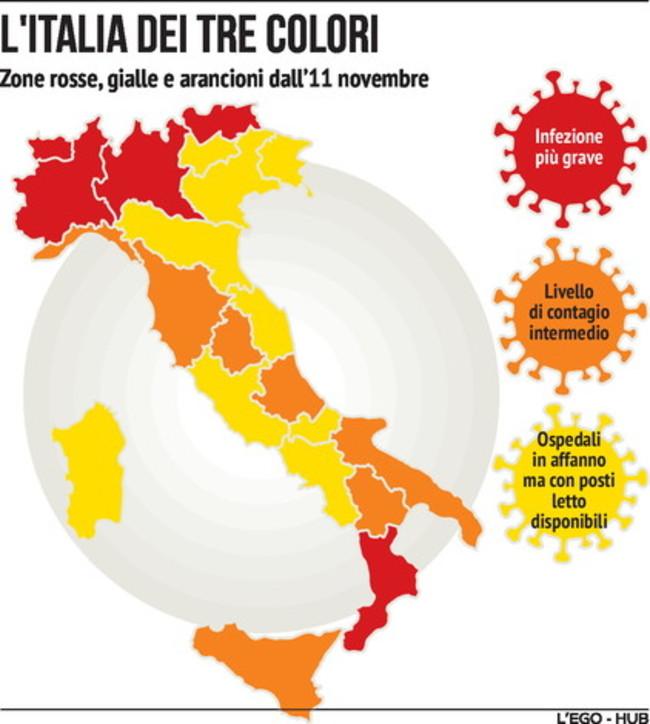 Epidemia Covid, l'Italia divisa in zone: ecco cosa si può fare