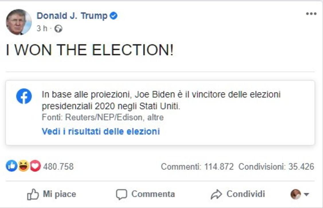 """""""Ho vinto le elezioni"""": ma i socialsmentiscono subito il post di Trump"""