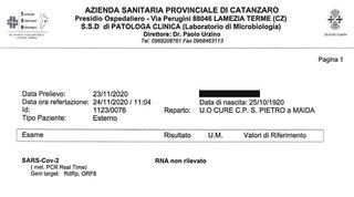 Catanzaro, una nonnina sconfigge il coronavirus e guarisce a cent'anni