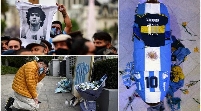 Maradona, il feretro coperto dalla maglia argentina e un numero dieci | Folla e tensione per l'addio a Buenos Aires