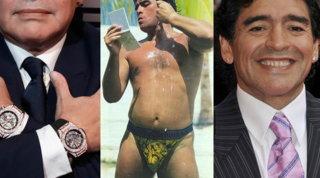 Maradona elegante ma esagerato: la passione per Versace, l'oro ostentato, il doppio orologio