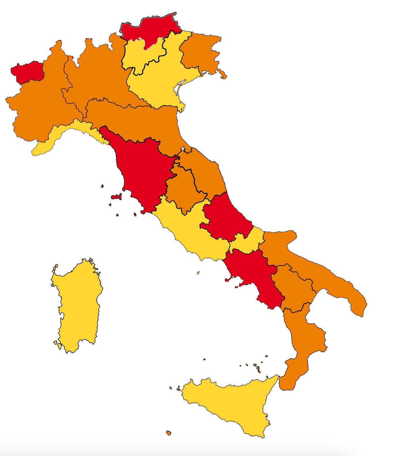 Immagini Lombardia Cartina.Coronavirus Lombardia Calabria E Piemonte Passano A Zona Arancione Liguria E Sicilia Diventano Gialle Tgcom24