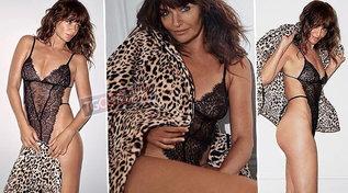 Helena Christensen è una bomba sexy, aggressiva in intimo e pelliccia a 51 anni
