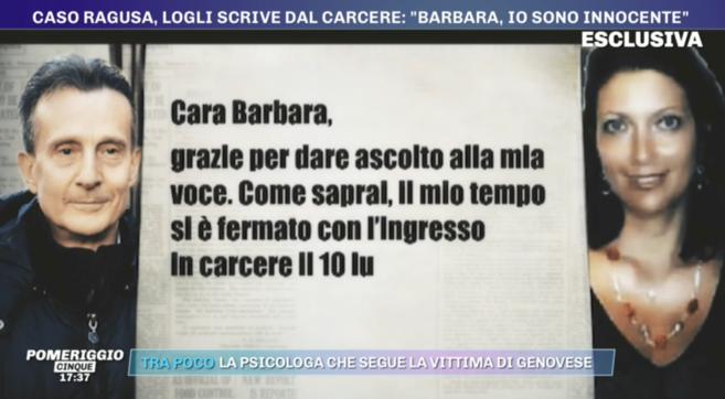 """La lettera dal carcere di Logli: """"Sono innocente, continuo a sperare che Roberta torni a casa"""""""