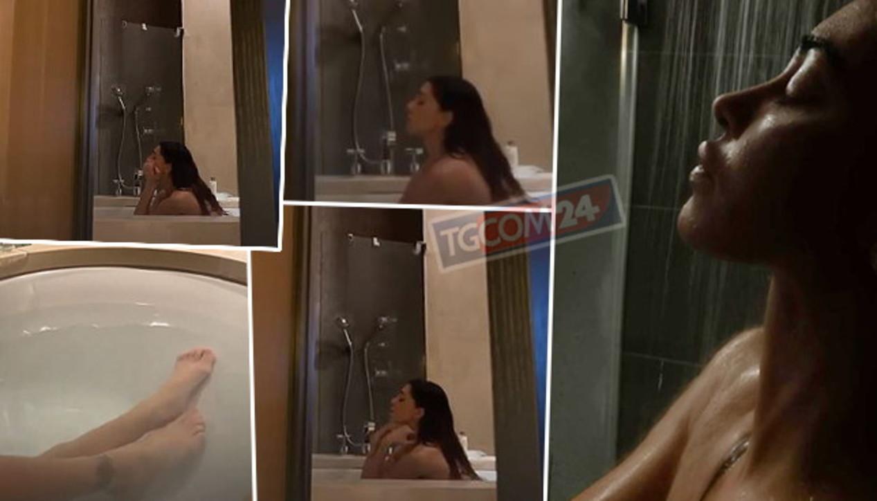 Belen nella vasca da bagno, il fidanzato la filma