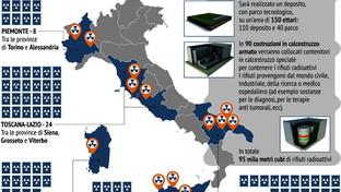 Nucleare, le 67 aree individuate per lo stoccaggio dei rifiuti radioattivi