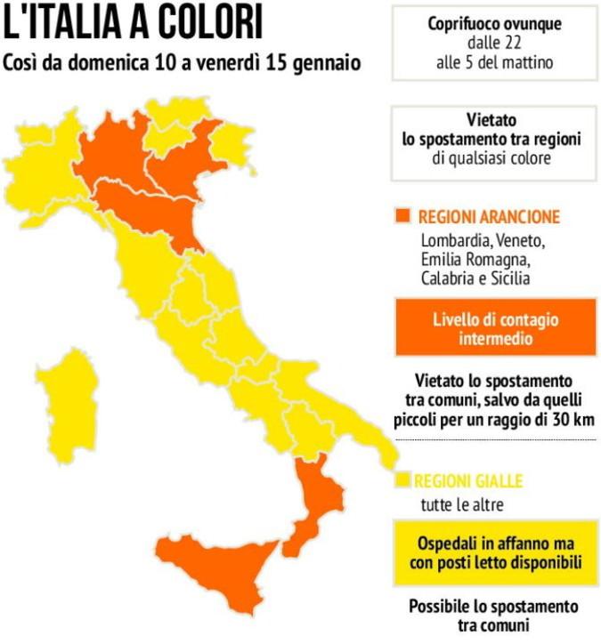 Le Regioni arancioni e gialle a partire dal 10 gennaio