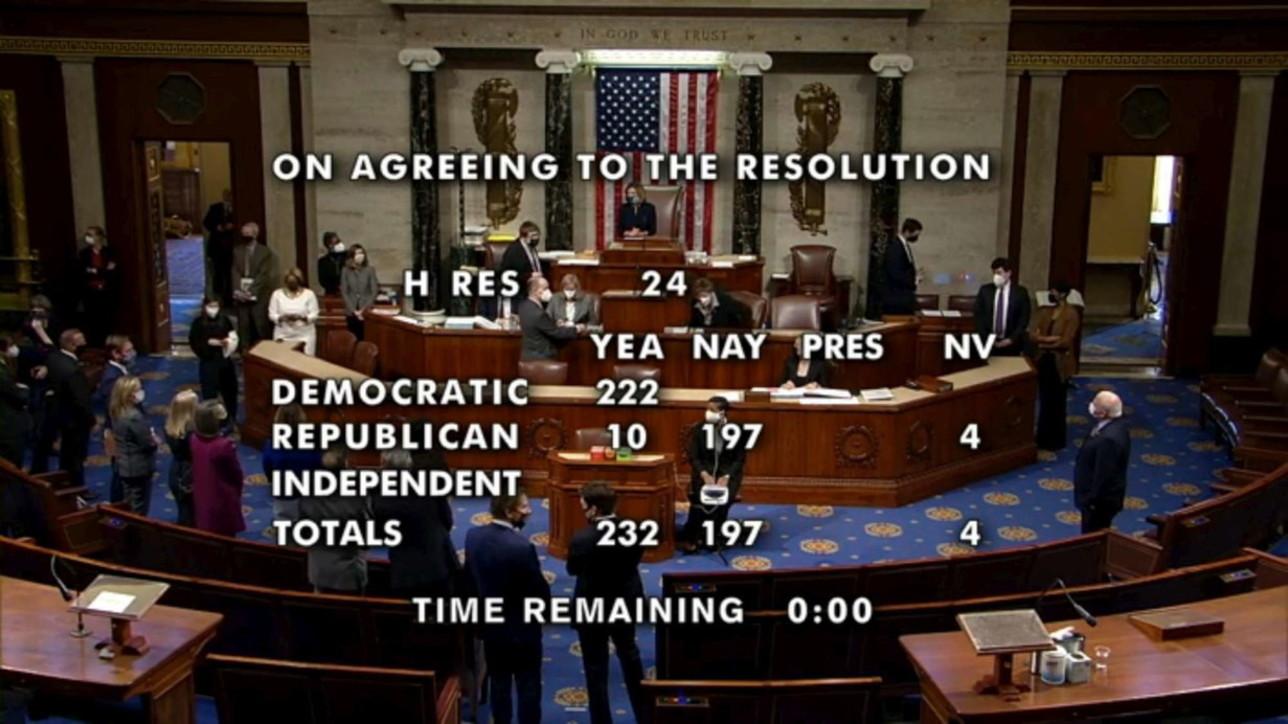 Usa, la Camera approva la mozione di impeachment contro Trump
