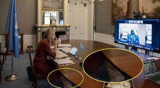 La regina Maxima a piedi nudi in videoconferenza Foto