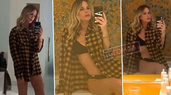 Alessia Marcuzzi stuzzica in slip e reggiseno, una sex bomb in bagno