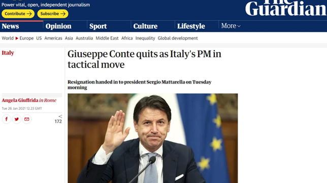 Conte si dimette, la notizia sulla stampa internazionale