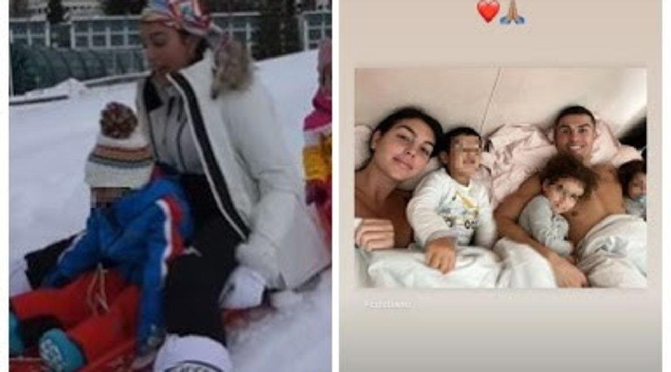 Georgina Rodriguez e Ronaldo ancora sulla neve: bob coi figli