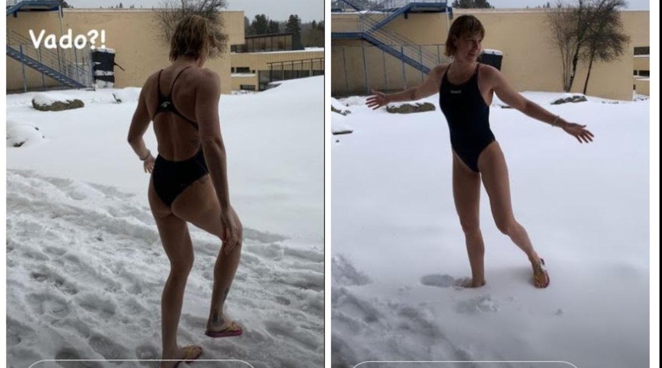 Un tuffo nella neve in costume, Federica Pellegrini da brividi!