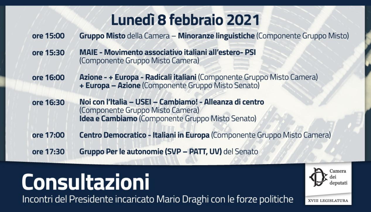 Governo, il calendario del secondo giro di consultazioni del premier incaricato Draghi