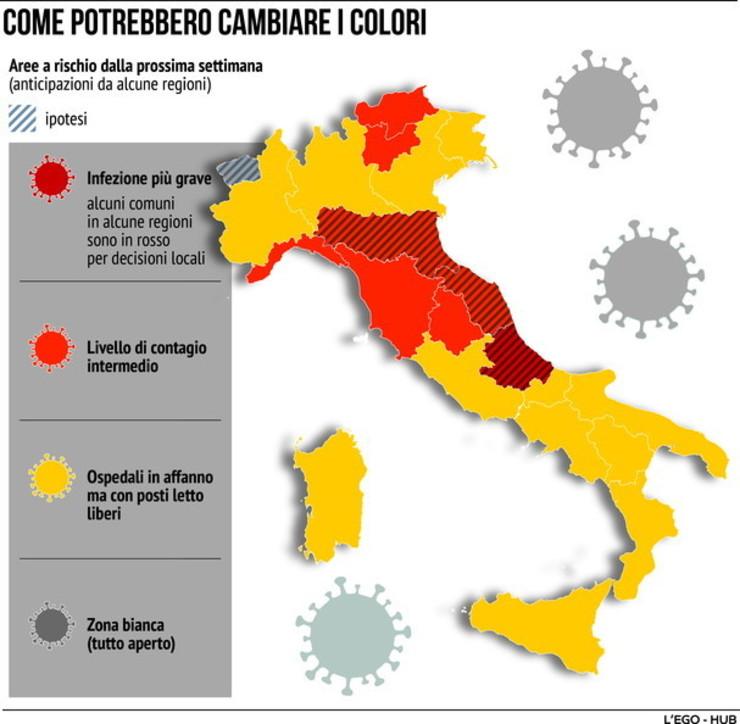 Covid, ecco come potrebbero cambiare i colori delle Regioni