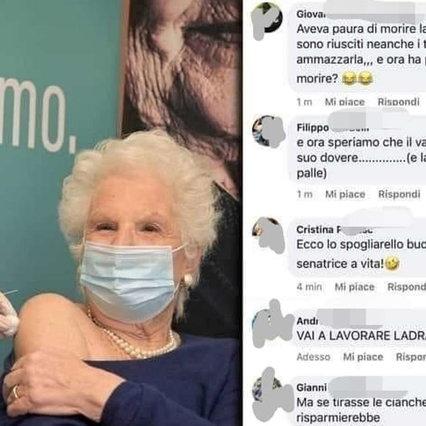 Liliana Segre si vaccina e riceve minacce e insulti sui social: è stata aperta un'indagine