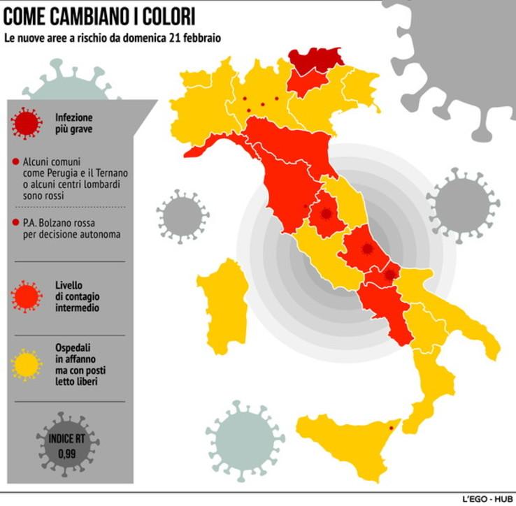 Covid, i nuovi colori delle Regioni in Italia