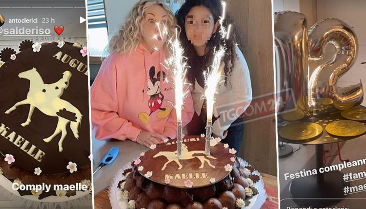 Antonella Clerici festeggia i 12 anni di Maelle, torta e brunch a tema