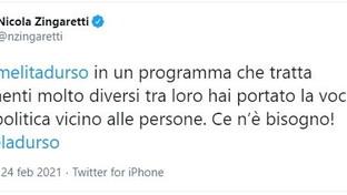 Nicola Zingaretti fa un tweet su Barbara D'Urso e sui social scatta l'ironia