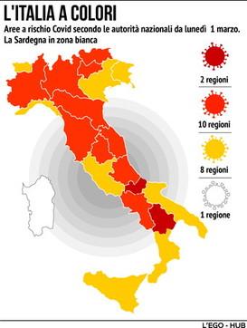 Covid, i nuovi colori dell'Italia dal primo marzo