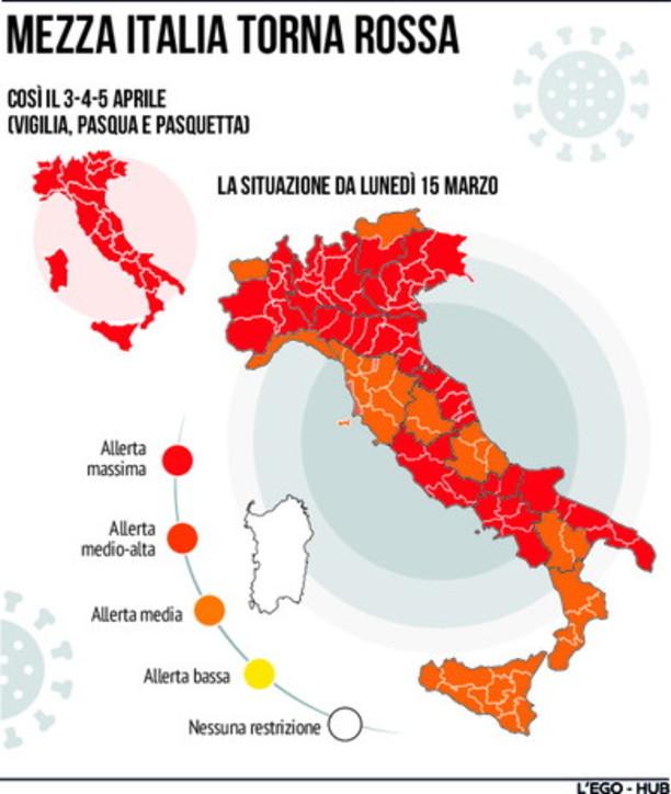 Coronavirus, lunedì mezza italia torna in zona rossa
