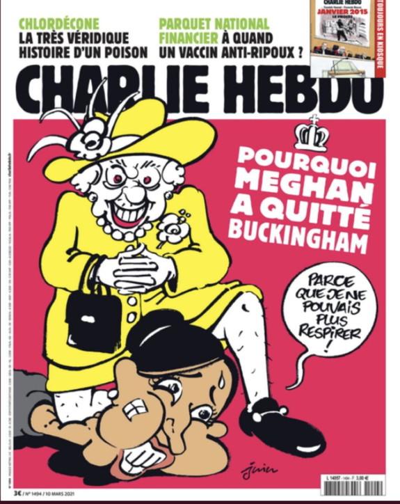 Charlie Hebdo ritrae Meghan come George Floyd. E gli inglesi si infuriano