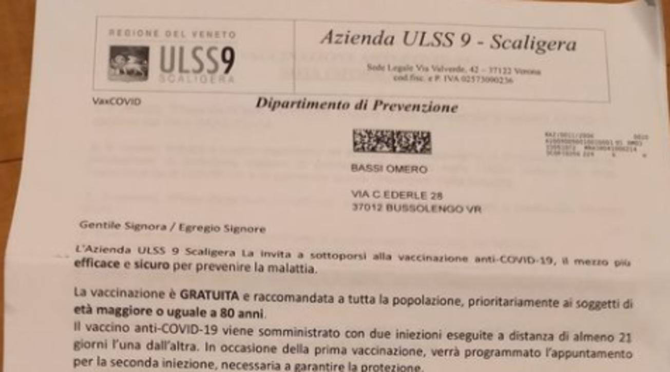 Verona, convocato con una lettera per il vaccino...ma è morto da trent'anni