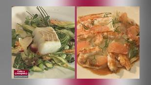 Merluzzo primaverile e Insalata di finocchi, pompelmo e scampi