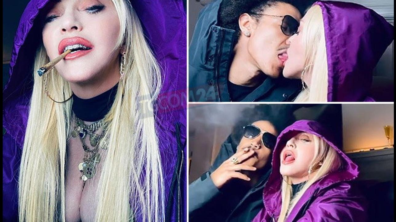 Madonna provoca sui social: baci hot con il suo boyfriend e una canna condivisa