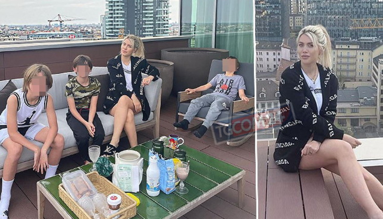 Wanda Nara in quarantena a Milano con i figli