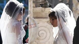 Lady Gaga è una splendida sposa in abito bianco per le vie di Roma