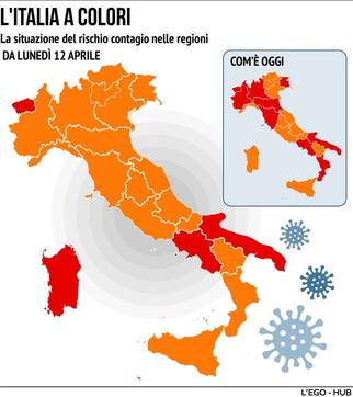 Italia, cambiano i colori per molte Regioni