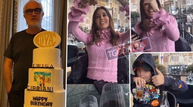 Flavio Briatore, torta a quattro piani per il compleanno con Eli e Nathan Falco