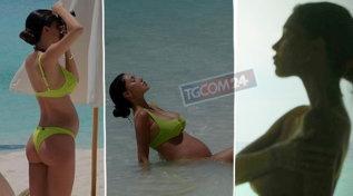 Belen alle Maldive, foto col pancione nudo e topless incontenibile