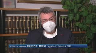 """Blocco dei licenziamenti, Maurizio Landini (Segretario Cgil): """"La nostra proposta è di avere una data unica per tutti"""""""