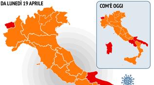 L'Italia a colori, la situazione delle Regioni dal 19 aprile: la Campania passa in arancione