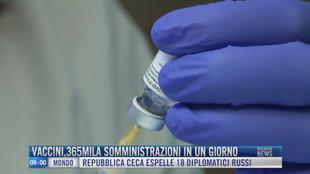 Breaking News delle 09.00 | Vaccini 365mila somministrazioni in un giorno
