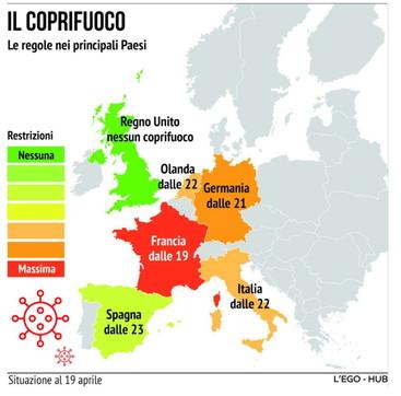 Covid, il coprifuoco nei principali Paesi europei