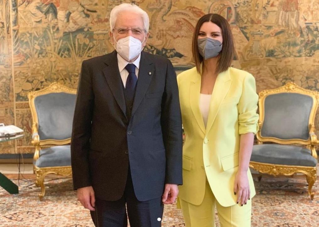 Laura Pausini incontrail presidente della Repubblica Sergio Mattarella