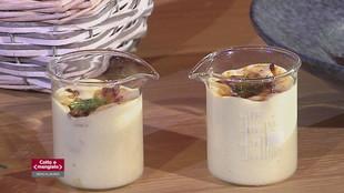 Crema di patate, gamberi e guanciale croccante versione classica e innovativa