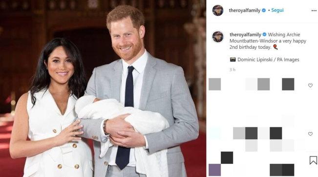 Archie compie 2 anni, gli auguri della Regina Elisabetta
