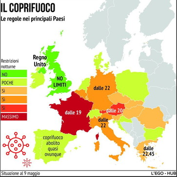 Il coprifuoco nei principali Paesi europei