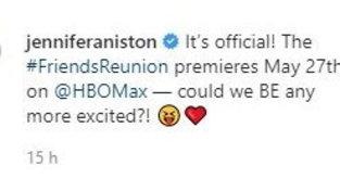 """""""Friends: The Reunion"""": le reazioni social dei protagonisti"""