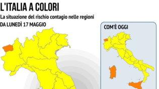 Covid, dal 17 maggio quasi tutta Italia in zona gialla