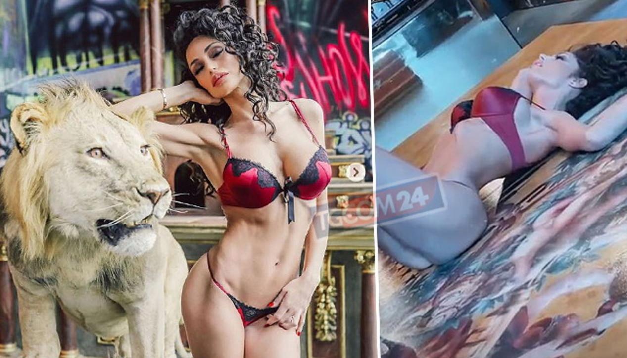 Raffaella Fico leonessa sexy in slip e reggiseno