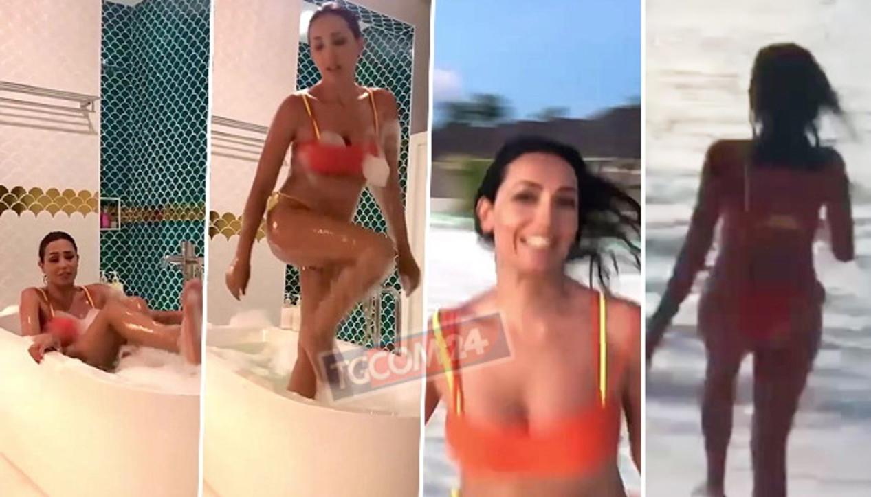 Caterina Balivo in bikini: dalla vasca da bagno al tuffo in mare