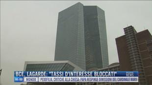 "Breaking News delle 16.00 | Bce Lagarde: ""Tassi d'interesse bloccati"""